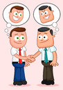 Cartoon businessman pair shaking hands with both of them thinki two businessmen thinking sneaky thoughts Royalty Free Stock Images