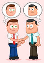 Cartoon businessman pair shaking hands and thinking unhappy tho two businessmen thoughts Royalty Free Stock Photography