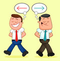 Cartoon businessman pair walking apart with different ideas two businessmen Royalty Free Stock Image