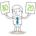 Cartoon businessman pareto vector illustration of a monochrome character smiling holding up two signs reading and referring to the Stock Photos