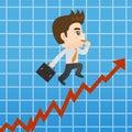 Cartoon Businessman shows sale growth