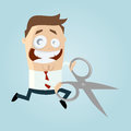 Cartoon businessman running with large pair of scissors Royalty Free Stock Image