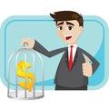 Cartoon businessman saving money in cage Royalty Free Stock Photo