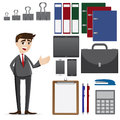 Cartoon businessman with set of office accessories illustration Royalty Free Stock Image
