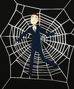 Cartoon businessman in spiderweb d render of Stock Photos