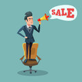 Cartoon Businessman Standing on Office Chair with Megaphone and Promoting Sale. Big Discount