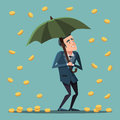Cartoon Businessman Standing with Umbrella Under the Money Rain. Business Success