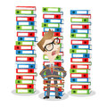 Cartoon businessman tied stack of binders paperwork vector illustration a helpless to a large Stock Photo