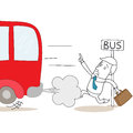 Cartoon businessman too late at bus stop vector illustration of a monochrome character with briefcase arriving Stock Photos