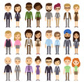 Cartoon businesspeople set of diverse business people on white background different nationalities and dress styles cute and simple Stock Photos