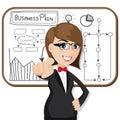 Cartoon businesswoman with business plan illustration of Stock Photo