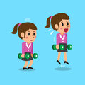 Cartoon businesswoman doing dumbbell calf jump exercise step training Royalty Free Stock Photo