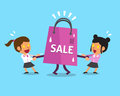 Cartoon businesswomen pulling big shopping bag Royalty Free Stock Photo