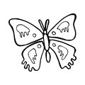 Cartoon butterfly black and white line in retro style vector available Stock Image