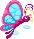 Cartoon butterfly carry card illustration of on white Royalty Free Stock Images