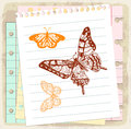 Cartoon butterfly on paper note, vector illustration Royalty Free Stock Photo