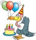 Cartoon buzzard with a birthday cake. Royalty Free Stock Photo