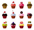 Cartoon cake icons set Royalty Free Stock Images