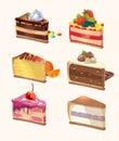Cartoon Cake Pieces. Vector Il...