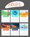 Cartoon Calendar 2021 Year With Animals. Uly, August, September, October, November, December