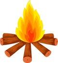 Cartoon a campfire on white