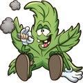 Cartoon cannabis plant character smoking a marihuana joint Royalty Free Stock Photo