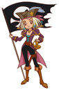Cartoon captain pirate girl with jolly roger flag Royalty Free Stock Photography