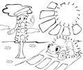 Cartoon car, traffic lights and sun. Vector illustration.