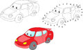 Cartoon car. Vector illustration. Coloring and dot to dot game f Royalty Free Stock Photo