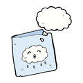 cartoon card with cloud pattern with thought bubble