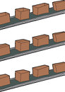 Cartoon cardboard boxes conveyer belts Stock Photo