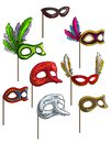 Cartoon carnival or venetian face mask vector set Royalty Free Stock Photo