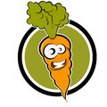 Cartoon carrot in a badge Stock Photo