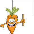 Cartoon carrot holding a sign illustration of smiling Stock Images