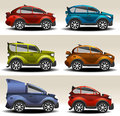 Cartoon cars racing toy of different colors Royalty Free Stock Images