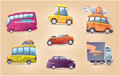 Cartoon cars set the of the vector vehicles there are a touring buses the racing hot rod the surfers van the heavy truck and the Stock Image