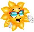 Cartoon cartoon sun character wearing sunglasses Royalty Free Stock Photo