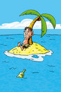 Cartoon of castaway on a desert island Royalty Free Stock Image