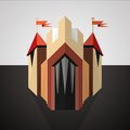 Cartoon castle drawn in perspective icon illustration of a with red flags on dark landscape Stock Photography