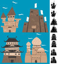 Cartoon castles set of silhouette versions are also included no transparency and gradients used Royalty Free Stock Images