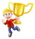 A cartoon casually dressed man happily jumping in the air holding a winners gold trophy Royalty Free Stock Photos