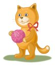 Cartoon Cat With A Ball Of Woo...