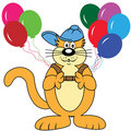 Cartoon Cat with Balloons Royalty Free Stock Photo