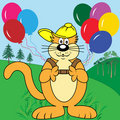 Cartoon Cat with Balloons in Park Stock Image