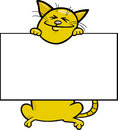 Cartoon cat with board or card Royalty Free Stock Photos