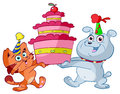 Cartoon cat and dog with cake illustration of happy party hats holding birthday white background Royalty Free Stock Photography