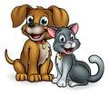 Cartoon Cat and Dog Pets Royalty Free Stock Photo