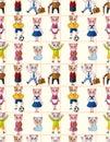 Cartoon cat family seamless pattern Royalty Free Stock Photo