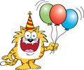 Cartoon cat holding balloons Royalty Free Stock Image