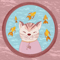 Cartoon cat looking in goldfish bowl painted watching fish an aquarium for gold Stock Photography